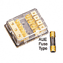 Sterling Power Gold Plated 3x10mm IN 4x6mm AUE Fuse Block.  GFB-3448